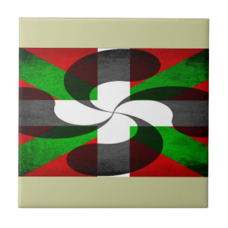 Baskisk flagga och kor liten kakelplatta