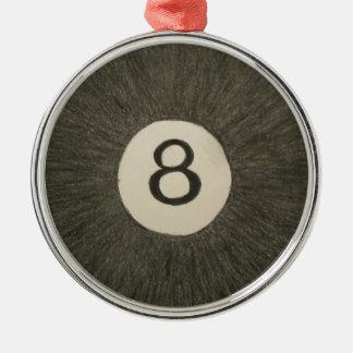 Bassängboll för åtta boll rund silverfärgad julgransprydnad
