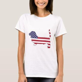 """Bassethund """"amerikanska flaggan """", t-shirt"""
