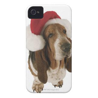 Bassethund i den Santa hatten iPhone 4 Case-Mate Fodral