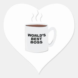 Bäst chef för världar hjärtformat klistermärke
