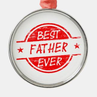 Bäst far någonsin Red.png Rund Silverfärgad Julgransprydnad