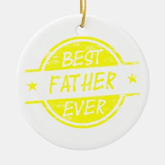 Bäst far någonsin Yellow.png Rund Julgransprydnad I Keramik