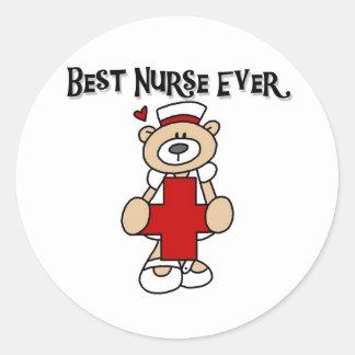 Bäst för sjuksköterska T-tröja och gåvor någonsin Runt Klistermärke