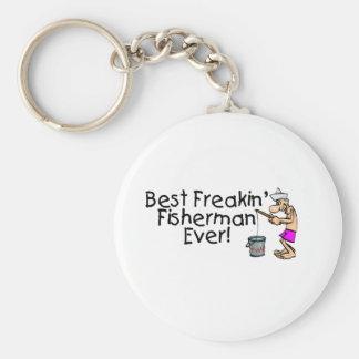 Bäst Freakin fiskare någonsin Rund Nyckelring