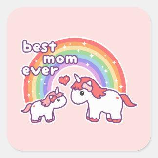 Bäst mamma för gullig Unicorn någonsin Fyrkantigt Klistermärke
