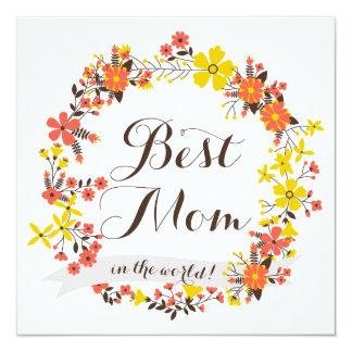 Bäst mammakort för gul & orange blom- kran fyrkantigt 13,3 cm inbjudningskort