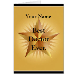 Bäst någonsin guld- stjärnahälsning för doktor OBS kort