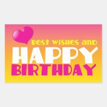 BÄST önskemål och grattis på födelsedagen! Rektangelformade Klistermärken