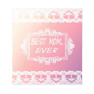 Bäst rosa pastellfärgad mors daggåva för mamma anteckningsblock