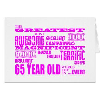 Bäst sextio femåringflickor: Rosa största 65 Hälsningskort