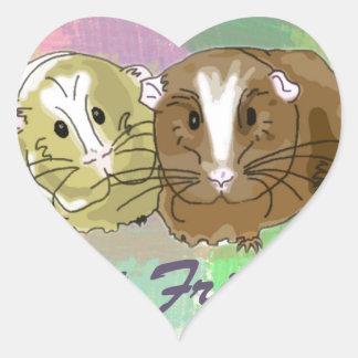 Bästa vänGuineapigdesign Hjärtformat Klistermärke