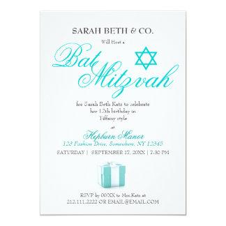 Bat mitzvah födelsedag för flott modeblåtttema 12,7 x 17,8 cm inbjudningskort