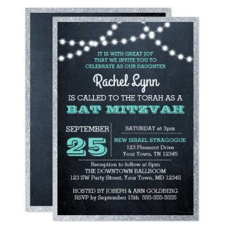 Bat mitzvah gräns för silver för svart 12,7 x 17,8 cm inbjudningskort