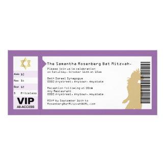 Bat mitzvah inbjudan för konsertbiljett i lilor