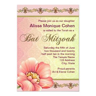 Bat mitzvah rosa- och gröntblommigt 12,7 x 17,8 cm inbjudningskort