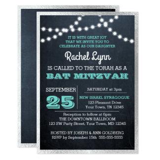 Bat mitzvah struktur för silver för svart 12,7 x 17,8 cm inbjudningskort