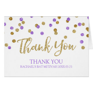 Bat mitzvah tackkort för purpurfärgade guld- hälsningskort
