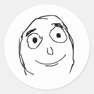 Bättre än förväntat ansikte runt klistermärke
