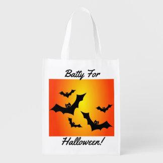 Batty för den Halloween bus eller godis Återanvändbar Påse