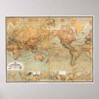 Baur 1870 och Mercator för Bromme världskarta Poster