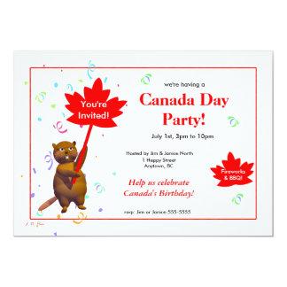 Bäver för Kanada dagparty 12,7 X 17,8 Cm Inbjudningskort