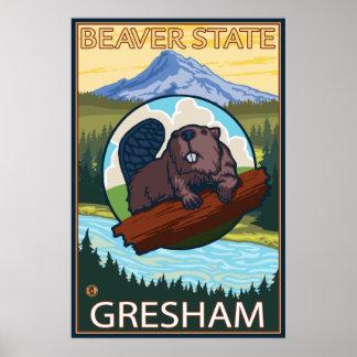 Bäver & Mt.-huva - Gresham, Oregon Poster