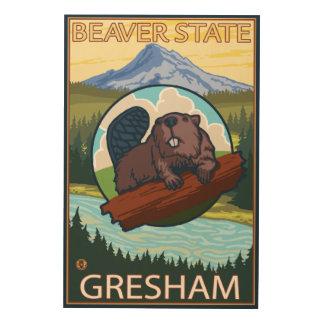 Bäver & Mt.-huva - Gresham, Oregon Trätavla