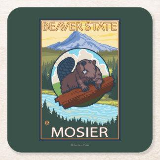 Bäver & Mt.-huva - Mosier, Oregon Underlägg Papper Kvadrat