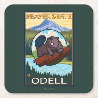 Bäver & Mt.-huva - Odell, Oregon Underlägg Papper Kvadrat