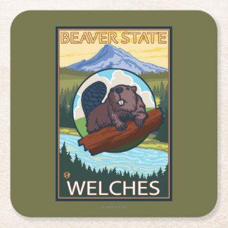 Bäver & Mt.-huva - Welches, Oregon Underlägg Papper Kvadrat