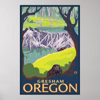 Bäverfamilj - Gresham, Oregon Poster