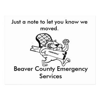 bäverflyttning, precis en notera att låta dig veta vykort