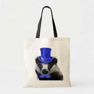 Bäverskinn med den blåtttop hat och moustachen tygkasse