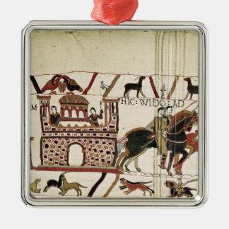 Bayeux TapestryEarl Harold till hertigen av Silverfärgad Fyrkantigt Julgransprydnad