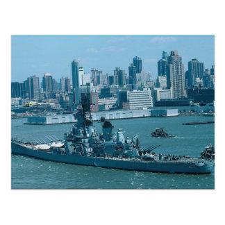 "BB-61 ""USS Iowa"", New York hamn, USA Vykort"