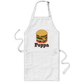 BBQ för Poppamorfarhamburgare som grillar gåvan Långt Förkläde