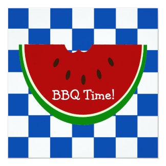 BBQ för vattenmelonpicknickfilt Fyrkantigt 13,3 Cm Inbjudningskort