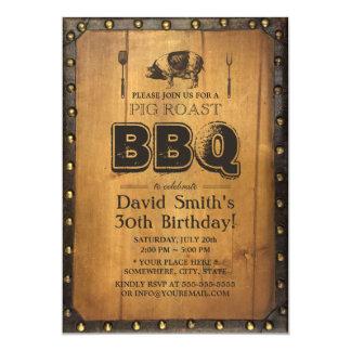 BBQ för vintagegrisstek smutsar ner gammal Wood 12,7 X 17,8 Cm Inbjudningskort