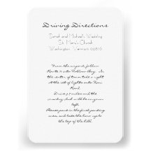 Beach Wedding Aqua and White Directions Cards