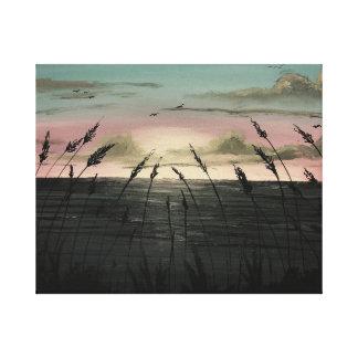"Beachy havogräs som målar 20"" x 16"" 1,5"" singel canvastryck"