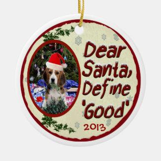 Beaglen kära Santa definierar den bra julprydnaden Julgransprydnad Keramik