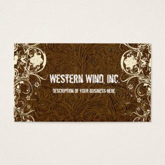 Bearbetad läder- och snörevisitkort för mörk brunt visitkort
