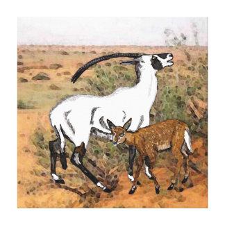 Beatrix oryxantilop (oryxantilopleucoryx beatrix) canvastryck