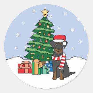 Beauceron och julgran runt klistermärke