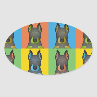 Beauceron tecknadPop-Konst Ovalt Klistermärke