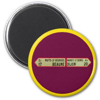 Beaune frankriken 1986Sign Beaune RedWhite MUSEET Magnet Rund 5.7 Cm
