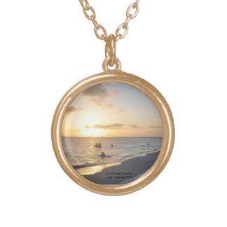 Beautful karibisk solnedgång Neclace en av - Guldpläterat Halsband
