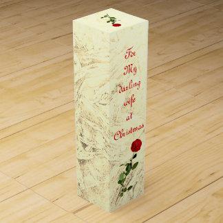 Bedårande fru för röd ros på juldesignen vinlåda