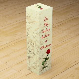 Bedårande make för röd ros på juldesignen vinlåda